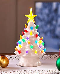 Retro Lighted Tabletop Christmas Trees White Small