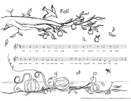 Autumn Coloring Pages Free Catholic Music Kids Sheets For Elementary Preschool Note Full Size