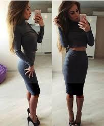 Skirt Grey Set Two Piece Dress 2 Sexy Women