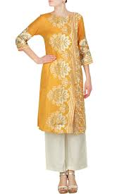 krishna mehta indian designer mustard yellow tunic
