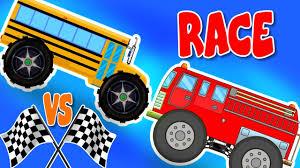 100 Toddler Fire Truck Videos Monster Bus VS Monster Car Race S Battles