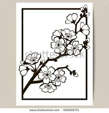 Greeting card with a branch of cherry blossoms Vector illustration