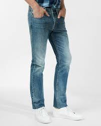 slim straight medium wash raw cut hem 100 cotton jeans express