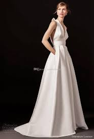 discount simple clean a line wedding dresses with pockets 2018