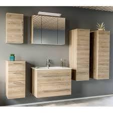 badezimmer set mit 80cm keramik waschtisch led spiegelschrank abuja