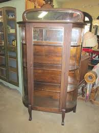 Antiique Oak China Display Curio Cabinet Curved Glass Sides Top