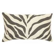 Decorative Outdoor Lumbar Pillows by Elaine Smith Lumbar Pillow Charcoal Zebra