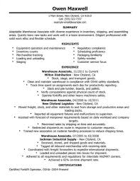 Example Resume Warehouse Worker Objective Forklift Driver