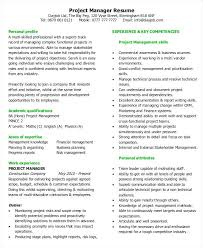 Project Manager Resumes Resume Example 2016