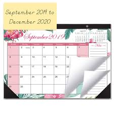 Desk Calendar 20192020 Monthly Large Wall Calendar Planner With Plastic Cover 115 X 17