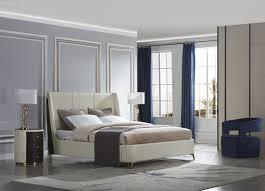 luxus schlafzimmer set 4tlg leder bett 2x nachttisch sessel design betten