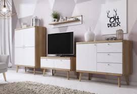 details zu skandinavische wohnwand primo wohnzimmer set vitrine lowboard kommode