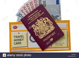British Passport Spanish Euro Currency Notes and A Post fice