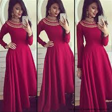 Maroon Turtle Neck Embroidered Gown Dresses Pinterest Dresses