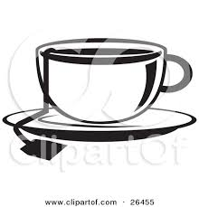 Black And White Clipart Illustration Of The String A Tea Bag Hanging Out Cup