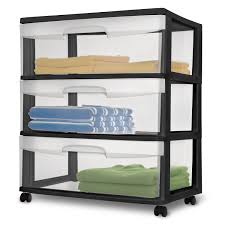 Walmart Sterilite Utility Cabinet by Sterilite Wide 3 Drawer Cart Black Walmart Com