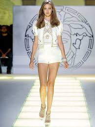 versace fashion show with beautiful versace models modeling