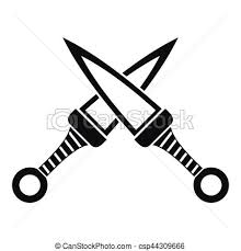Crossed Japanese Daggers Icon Simple Style