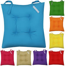 New Colourful Seat Pad Dining Room Garden Kitchen Chair Cushions Blue Pads And Selection Various Colours
