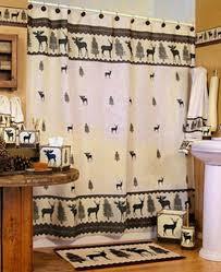 mountain moose and bear shower curtain cabin decor fabric shower