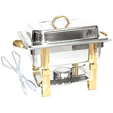 Chafing Dish Buffet Set Half Size Warmer Gold Accented Includes Tong Aluminum