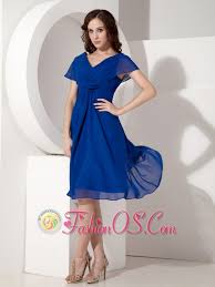 Elegant Royal Blue Mother Of The Bride Dress Empire V Neck Chiffon Ruched Knee