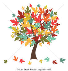 Stylized Autumn Tree With Falling Leaves For Greeting Card Vector