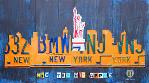 New York City Skyline License Plate Art Mixed Media by Design Turnpike