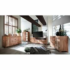 details zu wohnzimmer set wohnwand willow massivholz set 4 tlg akazie natur metall antik