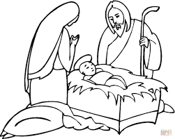 Click The Joseph And Maria Near Little Jesus Coloring Pages