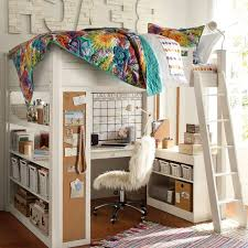 Ladder Red Painting Wall Decor Kids Loft Bed With Desk Double Bunk