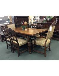 100 Oak Table 6 Chairs Solid Jacobean Style Dining Heirloom Home