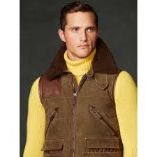 ralph lauren purple label suede down shooting vest in natural for