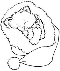 Kitten Christmas Coloring Page