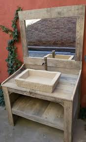 wood pallet bathroom cabinet with mirror faucet and sink