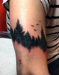 Black Work Forest With Birds And Lake Reflection Upper Arm Tattoo On Male