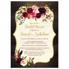 Rustic Wood Burgundy Aubergine Ivory Watercolor Flowers And Feathers Bridal Wedding