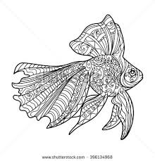 Gold Fish Coloring Book For Adults Vector Illustration Anti Stress Adult
