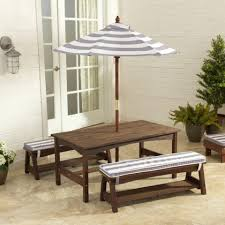 outdoor table bench set grey white stripes