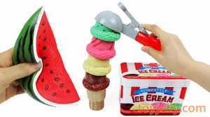 Learn Colors Making Ice Cream With Squishy Fruits Toys, Slime ...
