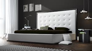 White Leather and Wenge Siena Platform Bed