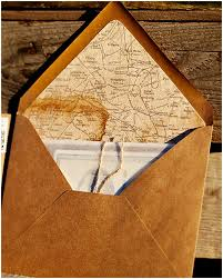 Coffee Stained French Map Envelope Liner