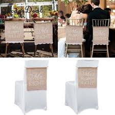 MagiDeal Traditional Birthday Engagement Party Mr Right Mrs Always Hessian Chair Banner Rustic Wedding