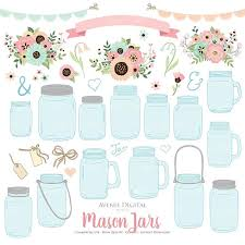 Pink And Mint Mason Jar Wedding Clipart Scrapbook Clip Art Floral Ball Jars Flowers Graphics Rustic Save The Date Cards Invitation