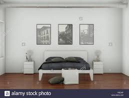 moderne schlafzimmer mit 3 bilderrahmen an der wand