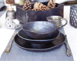 Ceramic Dinnerware Set Pottery Dinner Serving Dishes Stoneware Minimalist Plate Rustic Handmade