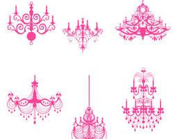 Pink Chandeliers Clip Art Set Classic Digital Decorative Design Element