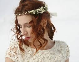Bridal Flower Crown Floral Rustic Halo Boho Hippie Headband White Wedding Headpiece LOLA