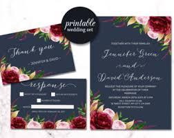 Navy Floral Wedding Invitation Burgundy Suite Boho Gold