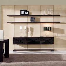 Contemporary Living Room Wall Unit Walnut